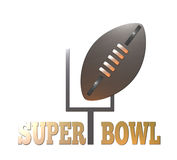 American football superbowl. Illustration of american rugby football and goal post Stock Image