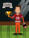 American football superbowl. American football player on superbowl vector illustration graphic design Royalty Free Stock Image