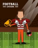 American football superbowl. American football player on superbowl vector illustration graphic design Stock Images