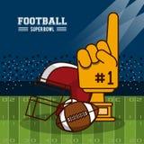 American football superbowl. Vector illustration graphic design Royalty Free Stock Photo