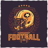 American football t-shirt label design. With illustration of football helmet Stock Images
