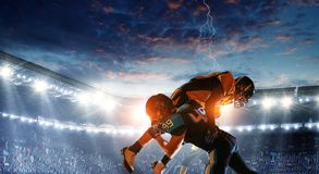 American football theme - hottest match moments. Mixed media stock image