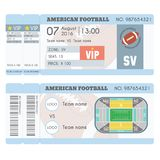 American football Ticket Modern Design. American football ball, field, stadium scheme with zone. Vector illustration Stock Photography