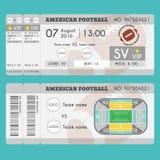 American football Ticket Modern Design. American football ball, field, stadium scheme with zone. Stock Photos