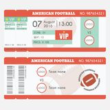 American football Ticket Modern Design. American football ball, field, stadium scheme with zone Stock Images