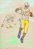American football - two players. American football player, teammates. Full-sized (original) hand drawing (useful for live trace converting for the  image - and Royalty Free Stock Image