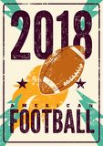 American football typographical vintage grunge style poster. Retro  illustration. American football typographical vintage grunge style poster. Vector Stock Photography
