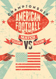 American football typographical vintage grunge style poster. Retro vector illustration. Stock Photos