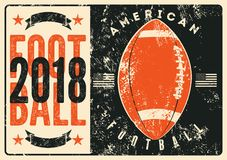 American football typographical vintage grunge style poster. Retro vector illustration. American football typographical vintage grunge style poster. Vector stock illustration