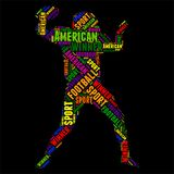 American football Typography word cloud colorful Vector illustration. Typography word cloud colorful in Silhouette Royalty Free Stock Photography