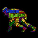 American football Typography word cloud colorful Vector illustration. Typography word cloud colorful in Silhouette Royalty Free Stock Photos