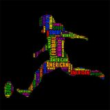 American football Typography word cloud colorful Vector illustration. Typography word cloud colorful in Silhouette Stock Photos