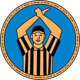 American Football Umpire Hand Signal Circle Mono Line Royalty Free Stock Photo