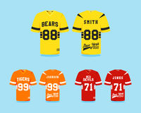 American football uniform collection, t-shirt. Design with team logos, labels, badges. Can be use in infographics, presentations, as icon etc. Cute Colors, Flat Stock Photo