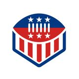 American Football USA Flag Crest Icon. Icon style illustration of an American Football on top of crest shield with USA stars and stripes banner Flag isolated Stock Photography