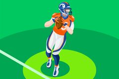 American Football Vector Background Illustration. Background of american football vector poster. 3D flat american football player. Isometric people cartoon for Royalty Free Stock Images