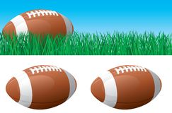 American football. Vector banner of American football ball on green grass. American football ball isolated on white background Royalty Free Stock Photo