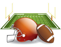 American Football. Vector illustration of american football helmet and ball on a field. Vector EPS 10. EPS file contains transparencies and gradient mesh in Royalty Free Stock Image