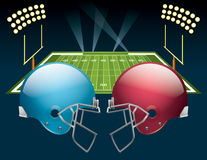 American Football. Vector illustration of american football helmets on a field. Vector EPS 10. EPS file contains transparencies Stock Photos