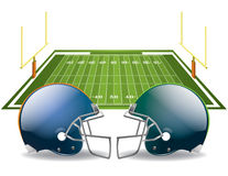 American Football. Vector illustration of american football helmets on a field. Vector EPS 10. EPS file contains transparencies and gradient mesh in the Stock Images