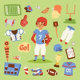 American football vector player uniform sport icons isolated on background. Sport athlete uniform people helmet icons. Winning adult football soccer Stock Image