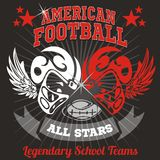 American football - Vintage vector print for boy Royalty Free Stock Photos