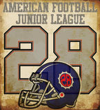 American football - Vintage vector print for boy sportswear in c Stock Image