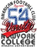 American football Vintage vector print for boy sportswear  Royalty Free Stock Photos