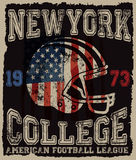 American football Vintage vector print for boy sportswear  Stock Photography
