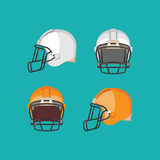 American Football White and Orange Helmet Isolated Royalty Free Stock Image