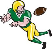 American Football Wide Receiver Catch Ball Cartoon. Illustration of an american football gridiron wide receiver running back player catching ball facing side set Stock Image