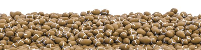 American footballs panorama. 3D illustration of panoramic view of hundreds of American footballs Royalty Free Stock Photo