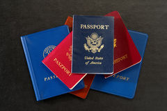American and Foreign International Passports Stack Royalty Free Stock Photography
