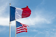 American and French flags Royalty Free Stock Image