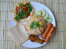 American fried rice Thai applied food on dish Royalty Free Stock Photography