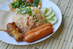 American fried rice Thai applied food on dish Stock Photos