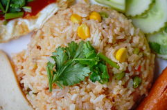 American fried rice Thai applied food on dish Royalty Free Stock Images