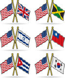 American Friendship Flags. Show a little national, and international cooperation with these flags of friendship. Elements are on separate layers for easy royalty free illustration