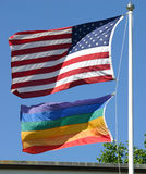 American and Gay Pride Flags Stock Photos