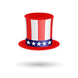 American gentleman hat cylinder with ribbon. Presidents Day symbol. Volumetric icon isolated on white background. Vector Illustrat Stock Image