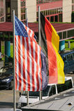 American and German flags waving Royalty Free Stock Images