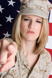 American Girl. Blond american flag girl pointing Stock Photos