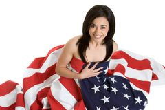 American Girl. Beautiful patriotic american flag girl Royalty Free Stock Photography