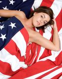 American Girl. Beautiful american girl in flag Royalty Free Stock Photo