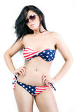 American girl in a bathing suit Royalty Free Stock Image