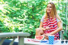 American girl hanging out on the fourth of July Royalty Free Stock Photos