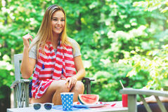 American girl hanging out on the fourth of July Royalty Free Stock Photography