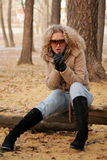 American girl in park Royalty Free Stock Photo