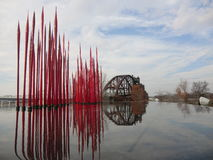 American glass sculptor and entrepreneur Dale Chihuly`s work displayed at Clinton Presidential Center. At Little Rock downtown. An abandoned old railway bridge Stock Images