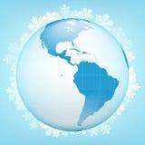 American globe view in winter season vector stock illustration